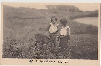 Vintage Philippine postcard.  Young Igorot girls with goat.