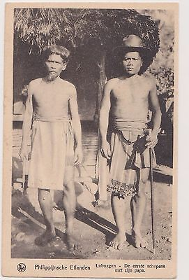 Vintage Philippine postcard Lubuagan Chief with father.