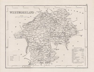 Antique map Westmoreland  circa 1860 by J. Archer. London. Steel engraving.