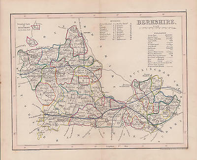 Antique map Berkshire.c1860 by J.Archer London.Hand coloured Steel engraving.