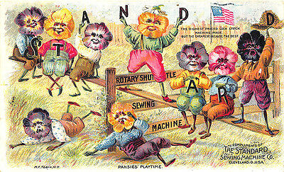 Cleveland OH Pansies Flowers Playtime The Standard Sewing Machine Trade Card