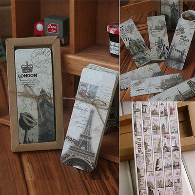 30pcs Retro Famous London Paris Book Marks Paper Reading Bookmark Flag Memo