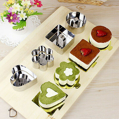 Stainless Heart Flower Mousse Cake Pastry Mold Ring Mould Layer Slicer Cutter