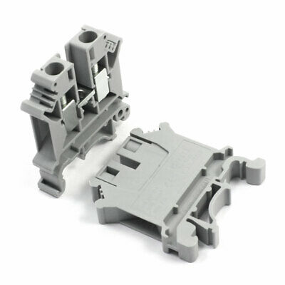 2Pcs UK-6N 800V 27A 6mm2 Screw Clamp Clipping Terminal Block Connector Gray