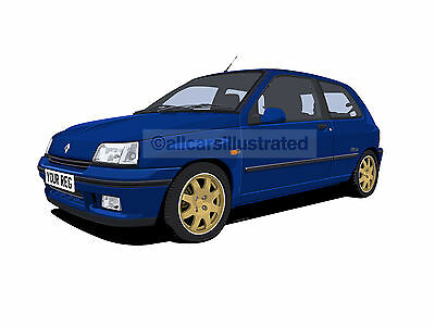 Renault Clio Wiliams Car Art Print Picture (Size A4). Personalise It!