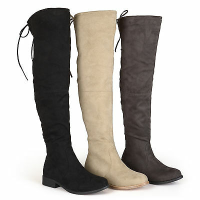 e2f456fbc56 BRINLEY CO WOMENS Wide Calf Faux Suede Over the knee Boots New ...