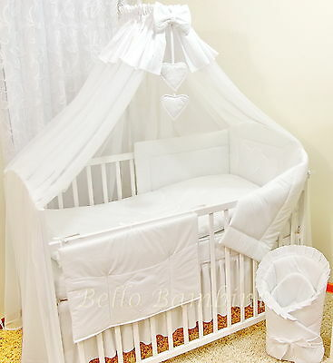 10p BABY BEDDING SET /BUMPER/CANOPY /ROD/DUVET/CANOPY to fit COT/COT  BED WHITE