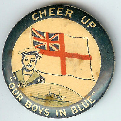 "Cheer Up ""Our Boys in Blue"" Australia WWI Pin Nat'l Colonial Flag SOLDIER Ship"