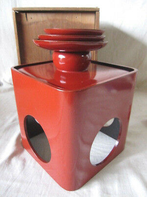 Japanese old wooden RED lacquer ware SAKE 3p cup thickly stand gold MAKIE crane