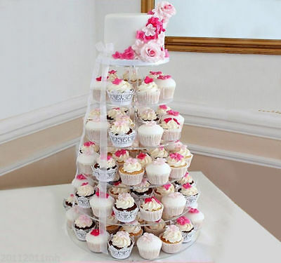 6 Tier Crystal Clear Acrylic Round Wedding Cupcake Stand Display Tower