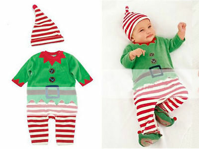 Kids Baby Elf Hat Costume Santa's Children Christmas Fancy Dress Boys outfits