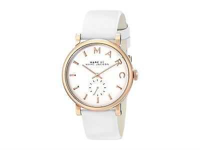 Marc Jacobs MBM1283 Baker Stainless Steel Watch with White Leather Band $195