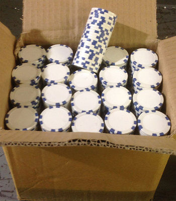 1000 Blue 8 Stripe Clay Composite Poker Chips 11.5gr GREAT DEAL *