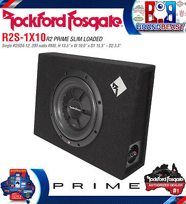 "Rockford Fosgate R2s-1x10 200w Rms 10"" Shallow Loaded Enclosure Subwoofer Box"