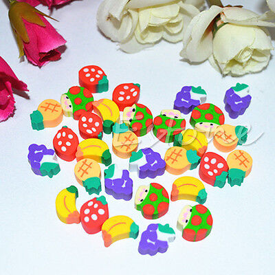 50Pcs Cute Mini Fruit Pencil Rubber Eraser Children Creative Stationery Gift Toy