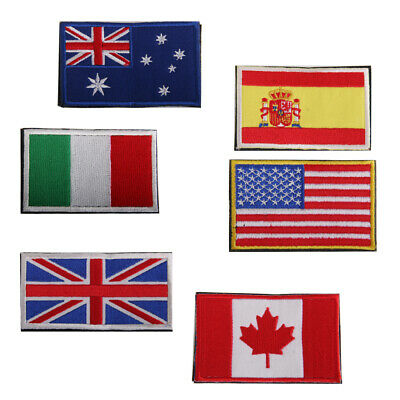 National World Country Emblem Flag LOOP FASTENER Embroidered Applique Patch Army