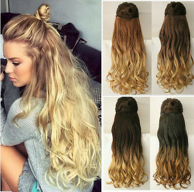 "Thick One Piece Half Full Head Ombre Clip in Hair Extensions 17"" 20"" 22"" 25"" uk"