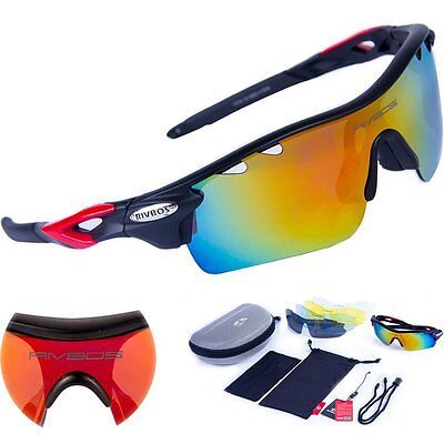 RIVBOS 801 POLARIZED Sports Sunglasses with 5 Interchangeable Lenses Fluorescent
