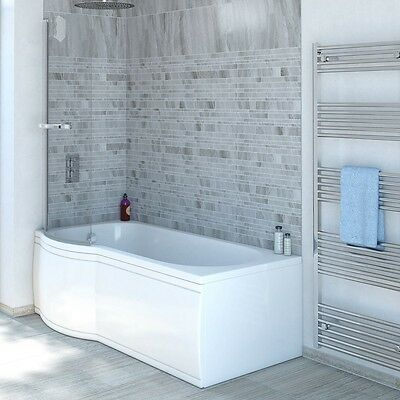 11 Jet P Shaped Whirlpool Shower Bath | Screen with Towel Rail Panel Jacuzzi Spa