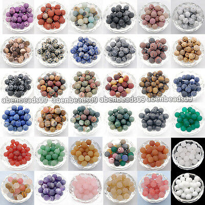 Matte Frosted Natural Gemstone Round Spacer Loose Beads 4mm 6mm 8mm 10mm 12mm
