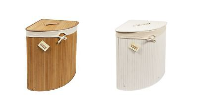 Woodluv Bamboo Corner Laundry Linen Storage Bin Folding Basket - Wht. or Natural