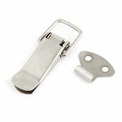 Case Box Spring Loaded Latch Catch Toggle Hasp Silver Tone Pair
