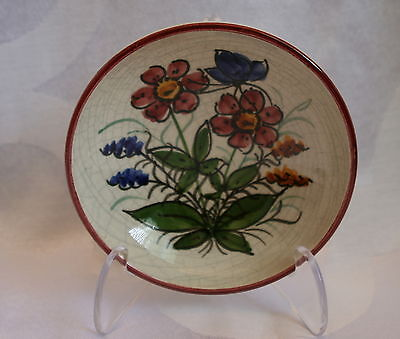 Vintage Hand Crafted Graf German Art Pottery Small Crackle Floral Bowl