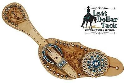 Ladies Western Spur Straps Light Oil Acorn Tooled Leather With Blue Crystals