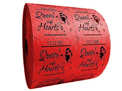 Queen of Hearts Raffle Tickets - 1000 per roll - RED