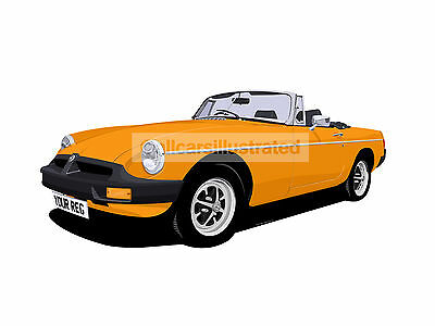 Mgb Roadster Car Art Print (Size A3). Choose Your Colour, Add Your Reg Plate