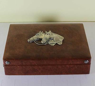 Leather Cigar Box with Sterling Silver Horse Heads