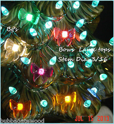 80 Bows 8 colors Ceramic Christmas tree light bulb star topper flame twist pin