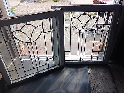 Rare & beautiful Pr Of Deco Tulip Leaded Glass Windows All Heavy Bevel 1930's