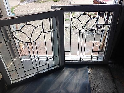 Rare & beautiful Pr Of Deco Tulip Windows All Heavy Bevel 1930's