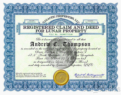 Unique Gift- Own Land On The Moon! Deed 5 acres Apollo Space Lunar Landing