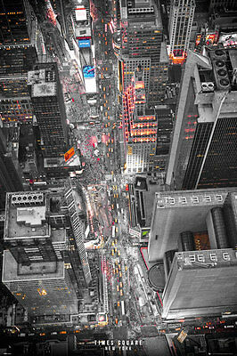 TIMES SQUARE - NEW YORK CITY POSTER - 24x36 LIGHTS NYC 34076