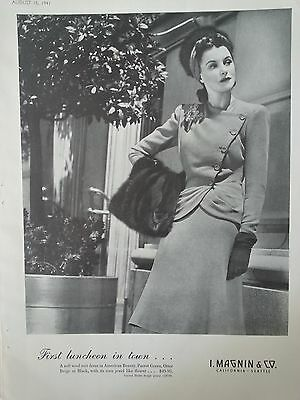 1941 I Magnin First Luncheon in Town Suit Dress American Beauty Otter Ad