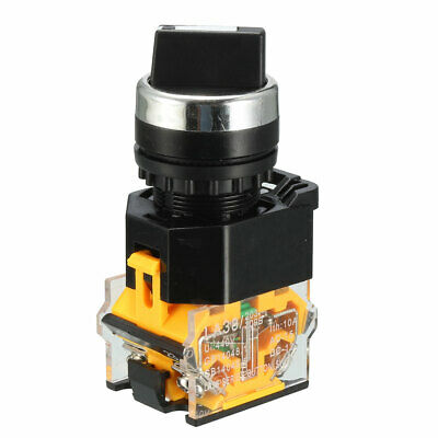 Panel Mounted 2 Position Selector Self-Lock Rotary Switch 380V 10A 1NO 1NC