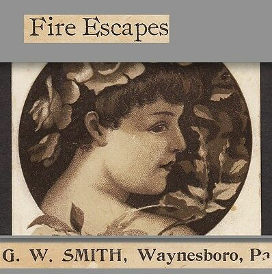 1800's Jail Cells Smith Steel Waynesboro PA Fire Escapes Advertising Trade Card