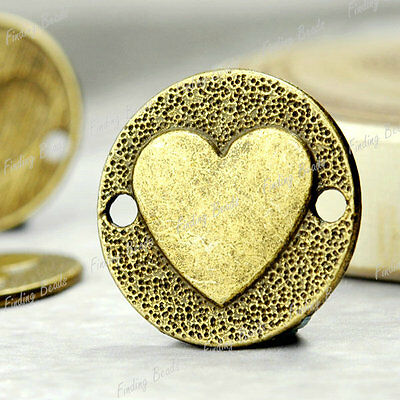 25pcs Round Heart Links antique brass vintage TS4239-4