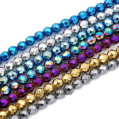 2Strands Faceted Hematite Gemstone Round Spacer Loose Beads 15.5'' 2mm ~ 10mm