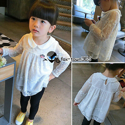 2016 Spring Baby Toddlers Child Kids Girl Hollow Snow Lace Shirt Blouses 3-8Y