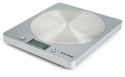 Salter Slim Aquatronic Disc Electronic Digital Kitchen Scales -Silver-1036SVSSDR