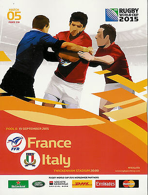 FRANCE v ITALY RUGBY WORLD CUP 2015 OFFICIAL PROGRAMME, 19 Sep Twickenham