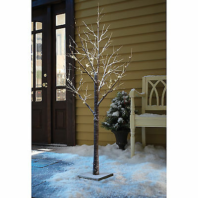 120 LED LARGE 6FT 180cm WHITE SNOWY PRE LIT CHRISTMAS TWIG TREE XMAS OUTDOOR