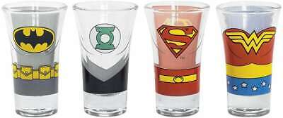 Official Dc Comics Justice League Set Of 4 Party Shot Glasses New & Gift Boxed