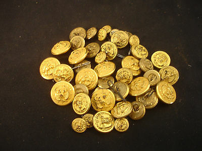 Old Vtg Collectible Gold Tone Military Button LOT Eagle