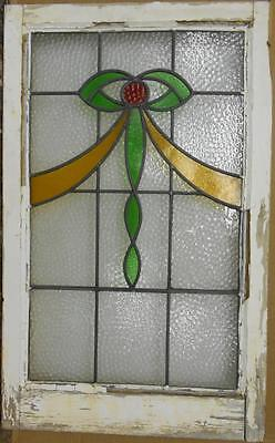 "MID SIZED OLD ENGLISH LEADED STAINED GLASS WINDOW Nice Bow Design 20.5"" x 33.25"""