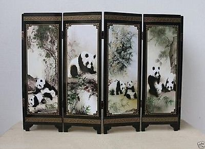 Good Chinese Lacquer Handwork Painting Panda Screen Scroll