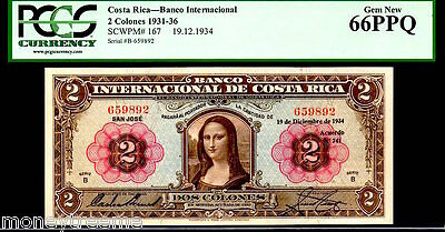 "Costa Rica P167 Famed ""mona Lisa"" 1936 2 Colones Graded Pcgs 66 Ppq! Finest Kn!"
